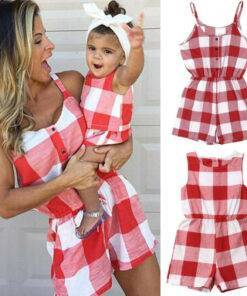 Mother Daughter Family Matching Outfits Mom & Kids Items cb5feb1b7314637725a2e7: black|Pink|Red