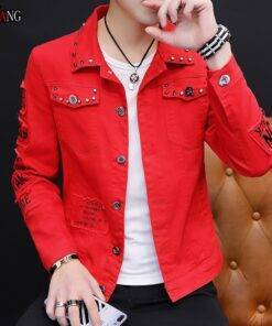Spring And Autumn Jeans Coat Men's Fashion Men's Fashion cb5feb1b7314637725a2e7: black Red White yellow