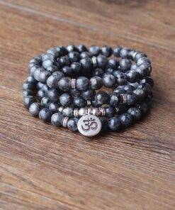 108 mala Labradorite with Lotus OM Buddha Charm Yoga Bracelet or Necklace Natural Stone Jewelry for Women Men All Products Crystal Stone
