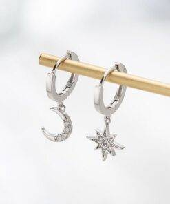 asymmetric crystal Star Drop earrings Earrings Jewelry Items
