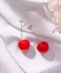 2020 New Korean fine Resin sweet cherry Fruit modelling Women earrings contracted elegant lovely fashion Drop earrings senior Earrings Jewelry Items