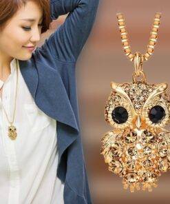 Charming Fashion Owl Pendant Long Sweater Chain Necklaces Vintage Statement Animal Crystal Rhinestone Pendant Necklace for Lady Necklace & Pendents Jewelry Items 8d255f28538fbae46aeae7: Rose Gold Color|Silver Plated