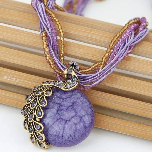 Rhinestone Peapock Pendant Necklace Handmade Necklace & Pendents Jewelry Items 8d255f28538fbae46aeae7: blue|dark purple|green|light purple|orange|yellow