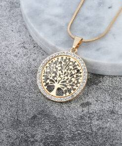 Women's Tree Of Life Crystal Round Pendant Necklace Necklace & Pendents Jewelry Items 8d255f28538fbae46aeae7: Gold Color|Rose Gold Color|Silver Color