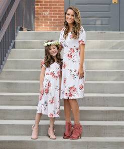 Floral Printed Mom and Kid Matching Dress Mom & Kids Items