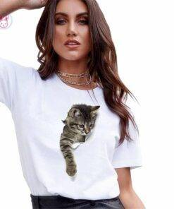 3D Kitten Printed T-Shirt Fashion Tops & Tees Women's Fashion