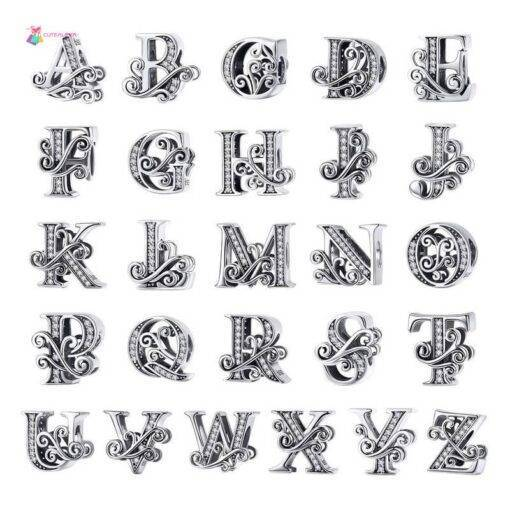 BAMOER 2019 NEW 925 Sterling Silver Vintage A to Z Clear CZ 26 Letter Alphabet Bead Charms Fit Bracelets DIY Jewelry BSC030 All Products