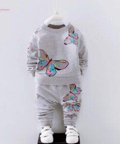 Baby Girls Clothes Sets 2PCS Spring Autumn 2018 Butterfly Print Toddler Girl Clothing Suit Kids Top + Pants Kid Clothing 1-4Y Baby & Kid's Clothing & Accessories Baby Girls Clothing Clothing Sets