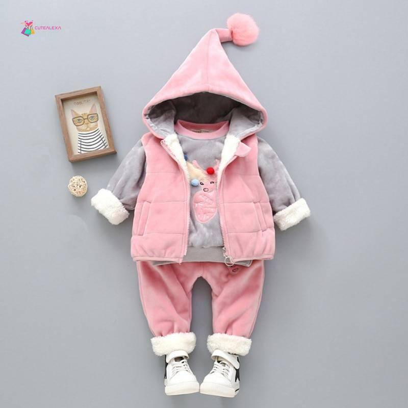 Children's Clothing Sets Winter Baby Girl Clothes Suit For Toddler Autumn Warm Hooded 3PCS Vest + Long Sleeves + pants 1-3 Year