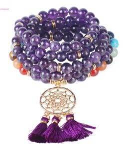 Crystal Stone Bracelet Dream Catcher Charm Bracelet Crystal stone Mala Crystal Stone