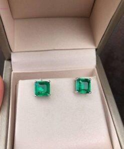 Emerald Gemstone Stud Earrings 100% Real 925 sterling silver Earrings Jewelry Items