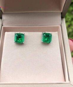 Emerald Gemstone Stud Earrings 100% Real 925 sterling silver Earrings Jewelry Items