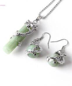 Necklace Earrings Set Chain Opal Dragon Pendulum mantra energized Crystal stone jewelry Crystal Stone