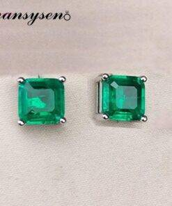 PANSYSEN Vintage Square Emerald Gemstone Stud Earrings for Women 100% Real 925 sterling silver Anniversary Party Women Earrings Earrings Jewelry Items