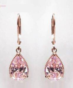 Rose Gold Color Pink Quartz Dangle Drop Earrings for Women Earrings Jewelry Items