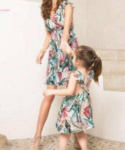 Summer Floral Print V-neck Mini Dress Mommy And Me Family Matching Mom & Kids Items