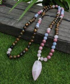 Tiger's Eye And Rhodochrosite Mantra Energized 108 Beads Crystal stone Mala Crystal Stone