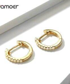 bamoer Authentic HOT SALE 6 Colors Circle Earrings for Women Silver 925 Gold Color Wedding Statement Jewelry Brincos SCE498 All Products