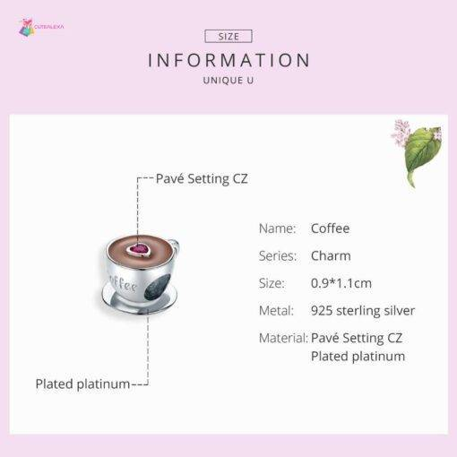 bamoer Coffee Cup Metal Beads for Women European Charm Bracelet 925 Sterling Silver Enamel Fashion Charms Jewelry SCC1286 All Products