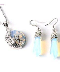 crystal Stone Pendants Necklace Hook Dangle Drop Earring Crystal stone jewelry Earrings Necklace & Pendents
