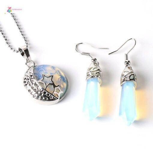 crystal Stone Pendants Necklace Hook Dangle Drop Earring Crystal stone jewelry Earrings Necklace & Pendents