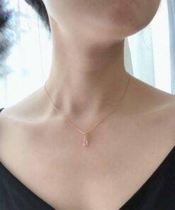necklace 925 Silver 18K Rose Gold Plated Pendant Petal Rose Quartz Necklace New 925 Sterling Silver Jewelry Items