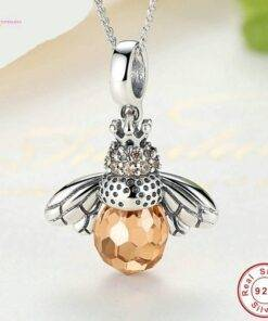 necklace 925 silver Orange Bee Pendants Necklace New 925 Sterling Silver Jewelry Items
