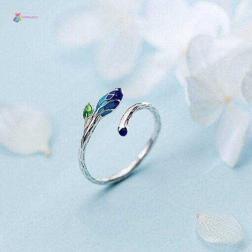 ring 925 Silver Color Gradient Bud Plant Adjustable New 925 Sterling Silver Ring 925 silver Jewelry Items