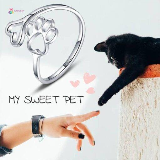 ring 925 Silver Ring Pet Love Dog Cat Claw New 925 Sterling Silver Ring 925 silver Jewelry Items